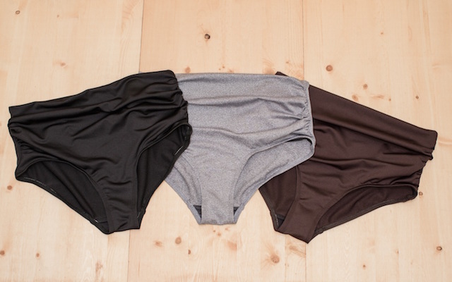 Magic Bottoms in Black, Chocolate Brown, and Char Mix Grey by Nettle's Tale Swimwear