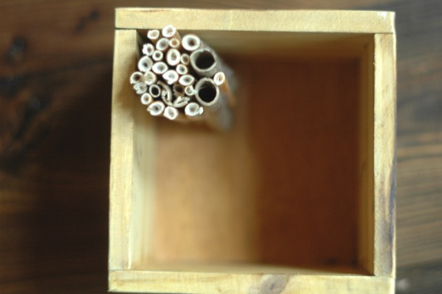 Pack materials tightly into your bee home frame