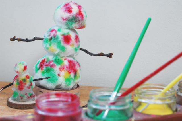 Use watercolour paint for a tie-dyed snow person
