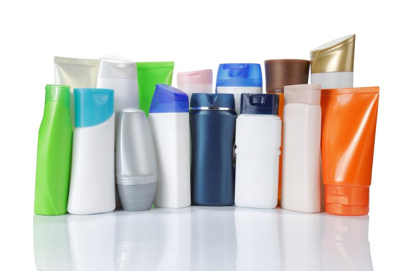 bottles of personal care products