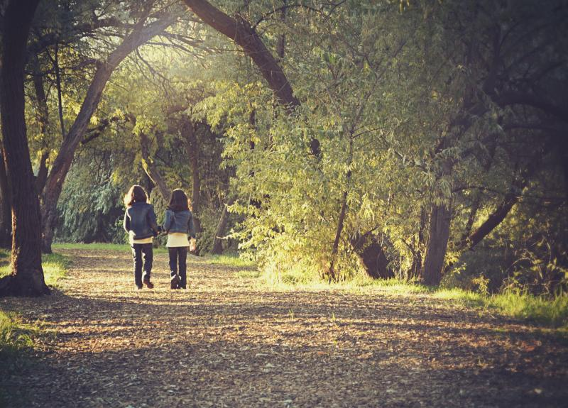 two kids walking along a path in a wooded park