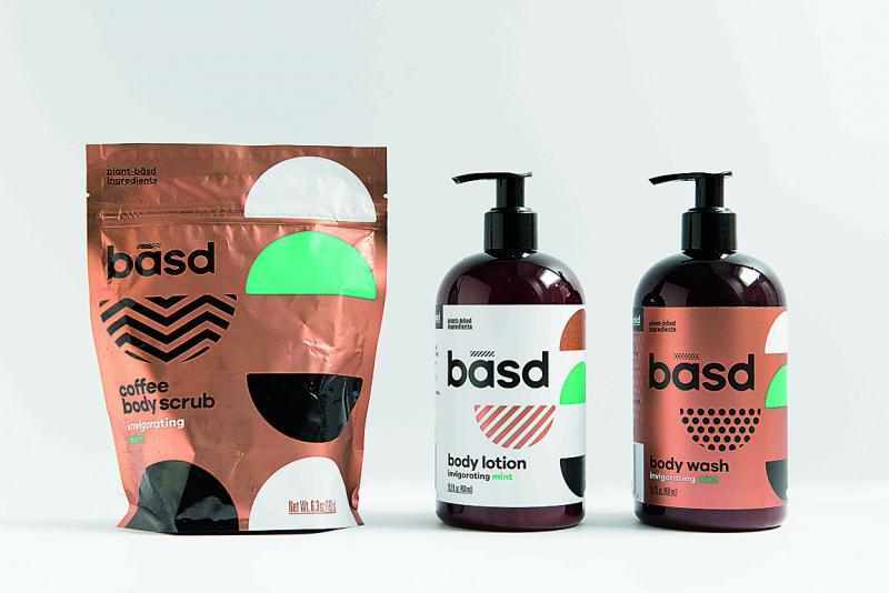 three BASD products - body scrub, body lotion and body wash