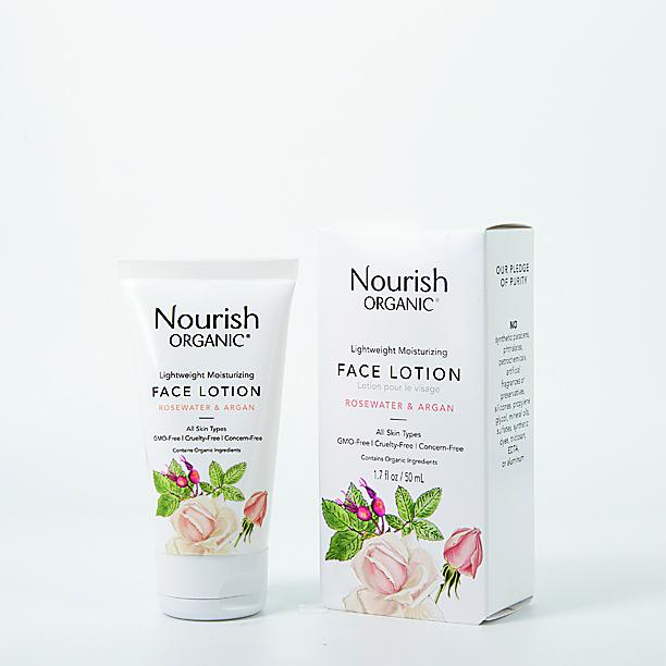 Nourish Organic rosewater and argan face lotion