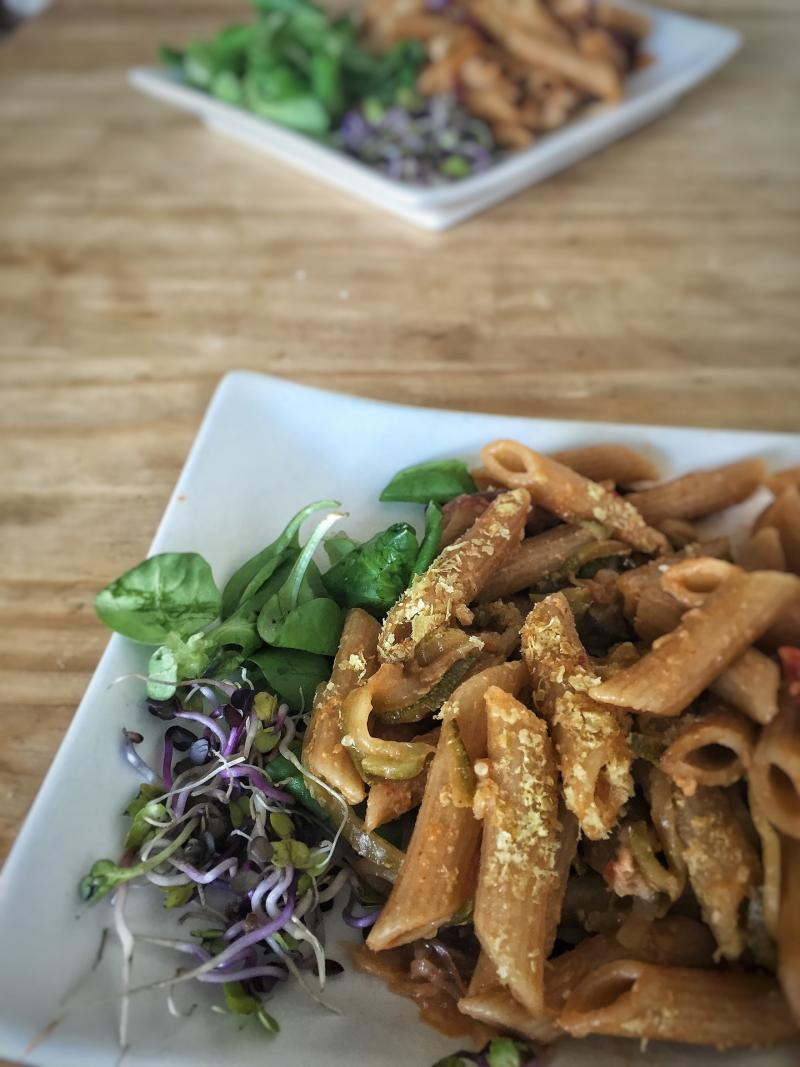 nutritional yeast on whole grain pasta