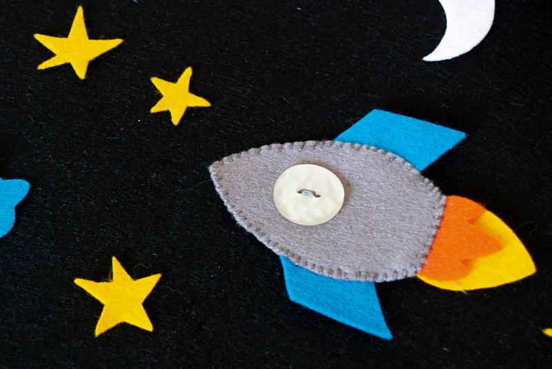 felt rocket on play mat