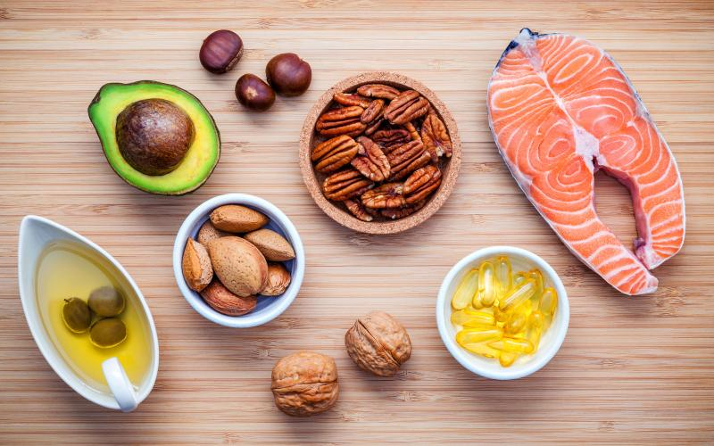 Foods high in omega 3s, such as avocado, salmon, nuts, olive oil.