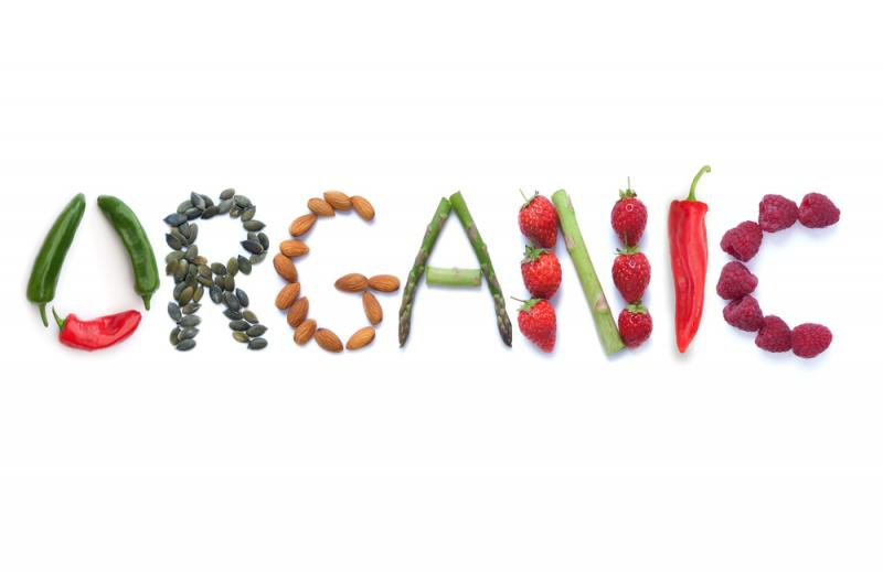 word organic spelled out with grocery produce