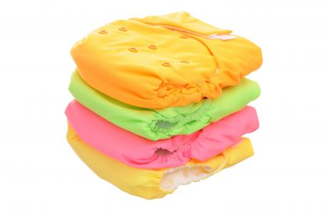 stack of colourful cloth diapers