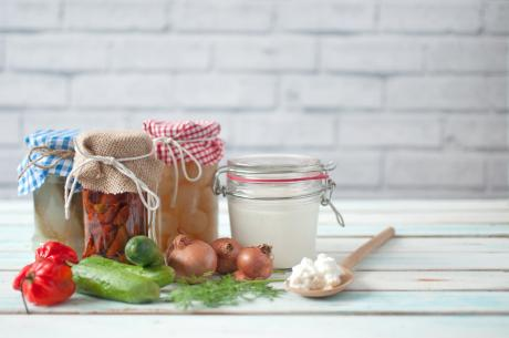 jars of probiotic-rich food