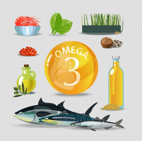 omega-3 in centre of poster surrounded by food sources
