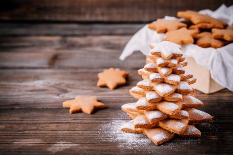 gingerbread trees sprinkled with powdered sugar on a wooden table
