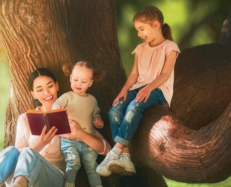 mom reading bible to kids