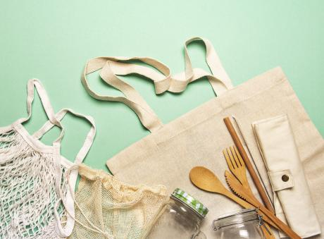 Zero waste items like bamboo cutlery, glass jars and reusable bags