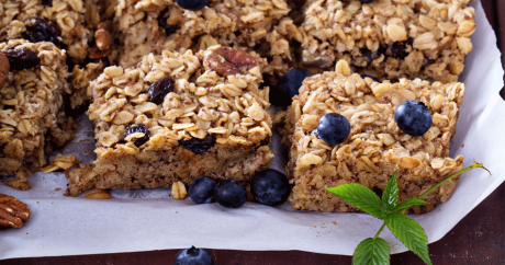 oatmeal bars with blueberries on top